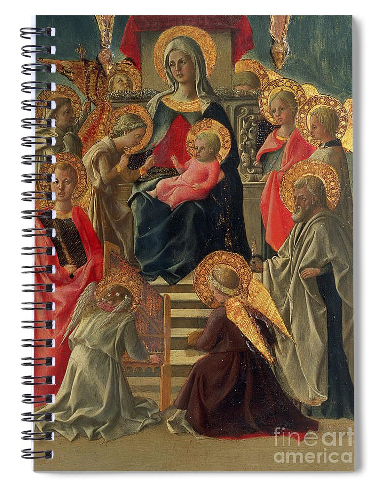 Madonna Spiral Notebook featuring the painting Madonna And Child Enthroned With Angels And Saints by Fra Filippo Lippi