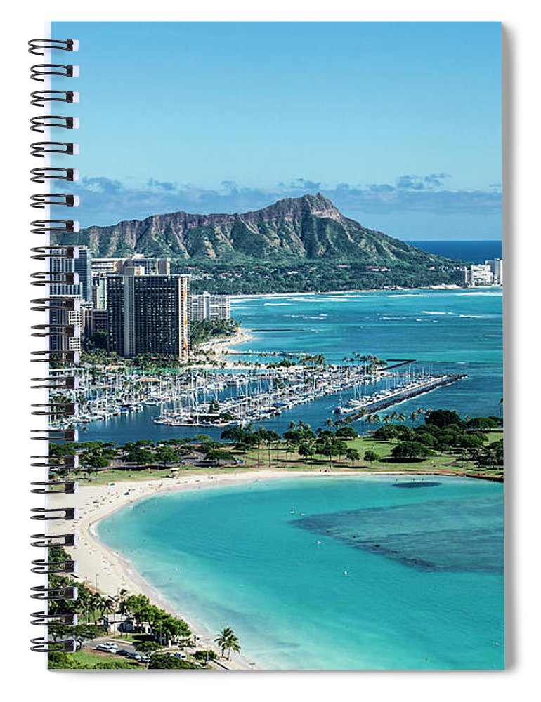 Helicopter Spiral Notebook featuring the photograph Magic Island To Diamond Head by Sean Davey