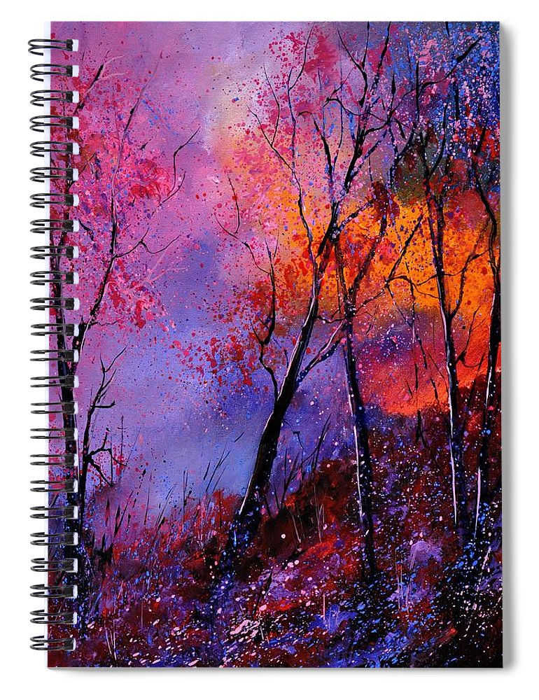 Landscape Spiral Notebook featuring the painting Magic trees by Pol Ledent