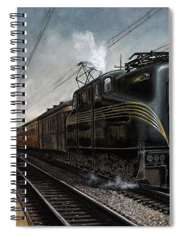 Trains Spiral Notebook featuring the painting Mainline Memories by David Mittner