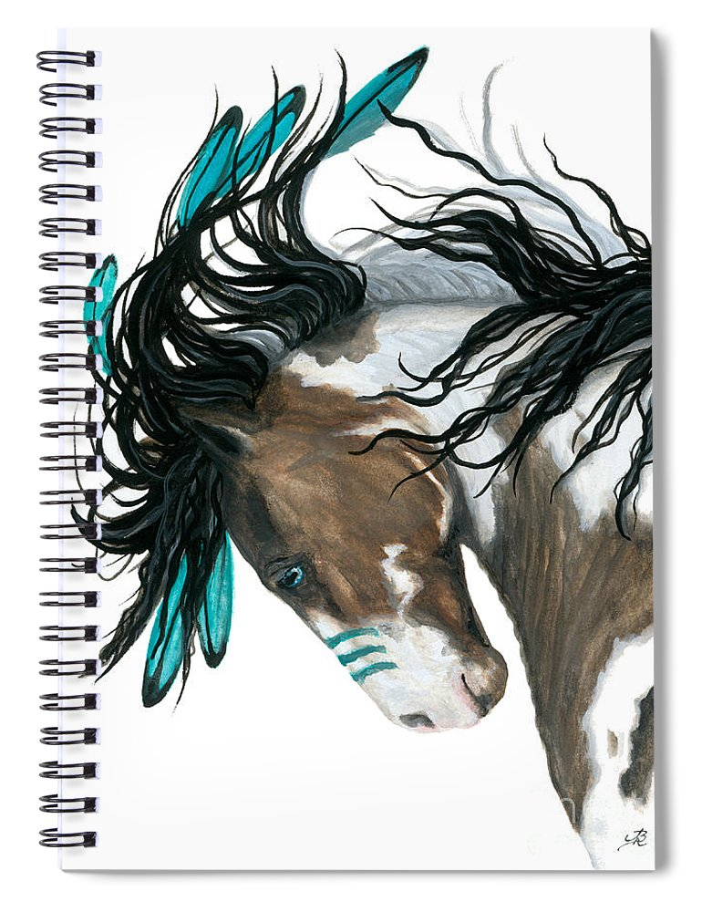 Turquoise Spiral Notebook featuring the painting Majestic Turquoise Horse by AmyLyn Bihrle