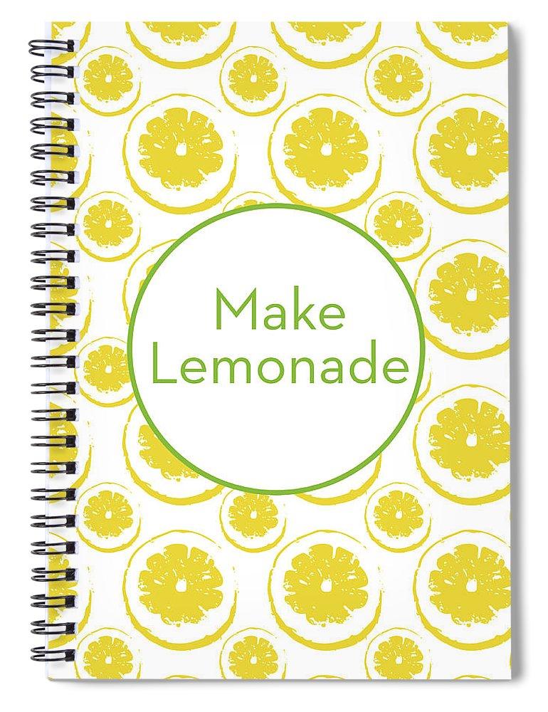 Lemons Spiral Notebook featuring the mixed media Make Lemonade 3- Art By Linda Woods by Linda Woods