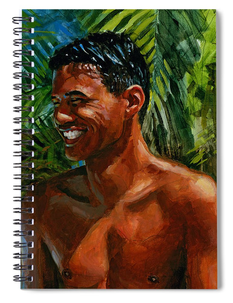 Hawaiian Spiral Notebook featuring the painting Making Nohea Laugh by Douglas Simonson