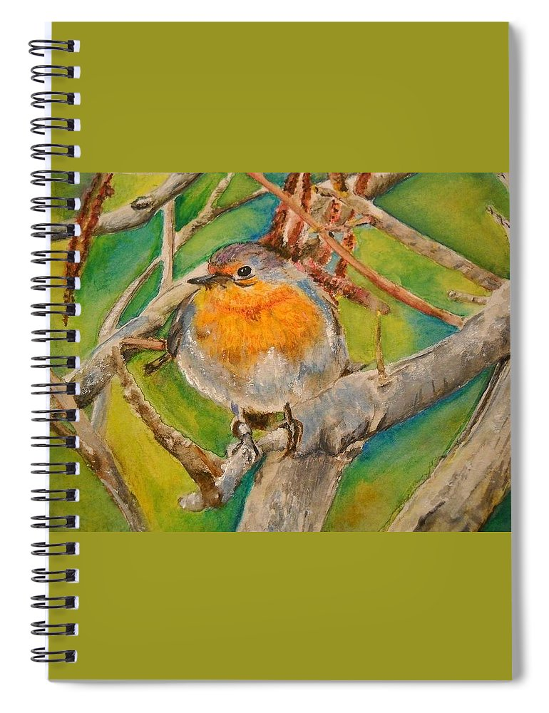 Malta Spiral Notebook featuring the painting Maltese Robin by Lisa Cini