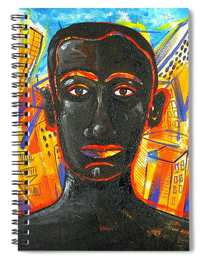 Man Spiral Notebook featuring the painting Man and The City by Rollin Kocsis