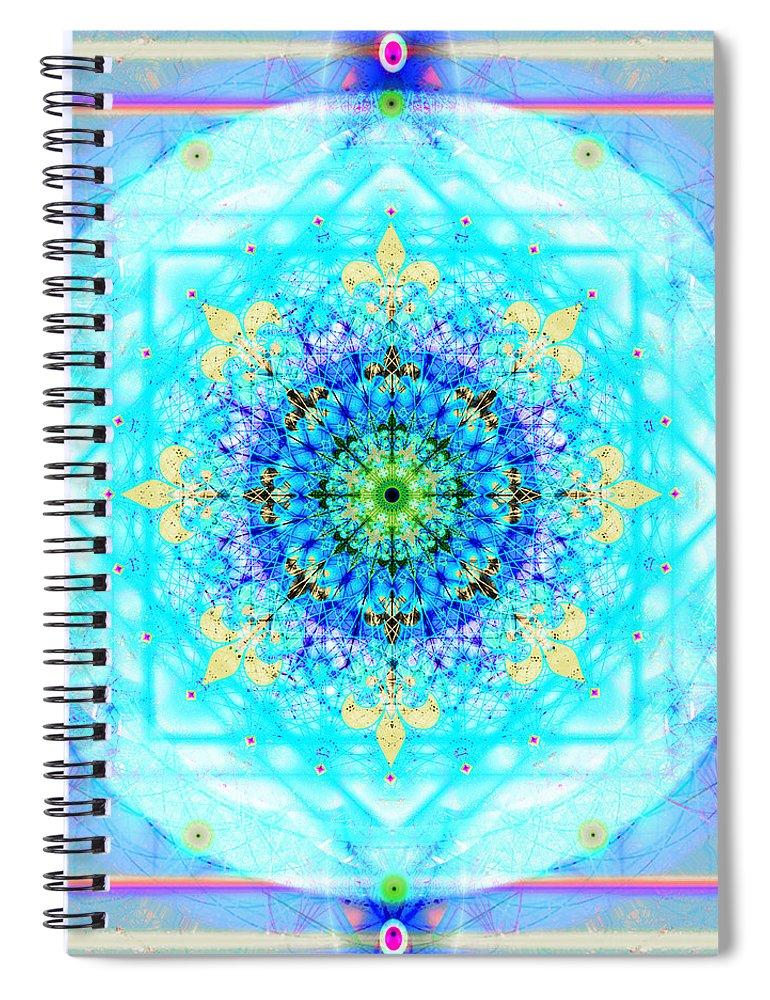 Mandala Spiral Notebook featuring the digital art Mandala of Womans Spiritual Genesis by Stephen Lucas