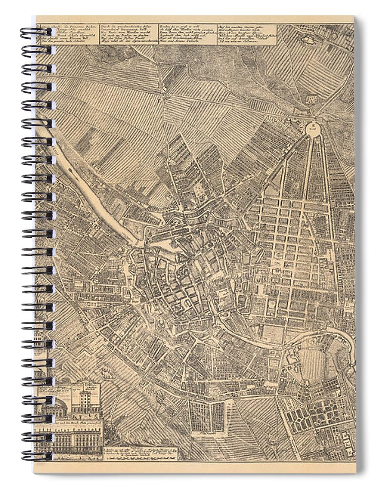 Maps Spiral Notebook featuring the painting Map Of Berlin Showing Buildings Of Interest, 1773 by Johann David Schleuen