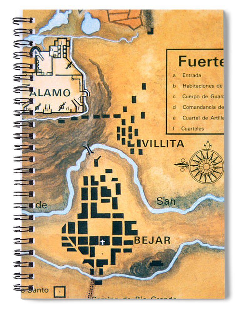 Alamo Spiral Notebook featuring the drawing Map Of The Alamo Area In San Antonio by Mexican School
