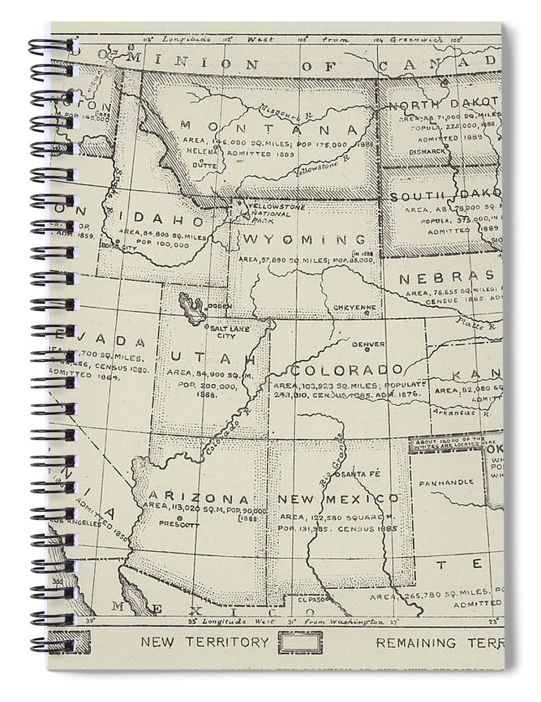 Map Of The Western States Of America Spiral Notebook United States Map Cl on miss united states, ma united states, se united states, rainbow united states, pa united states, ne united states,