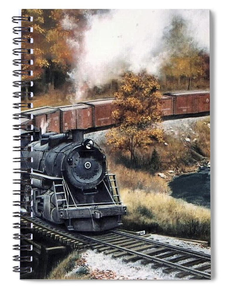 Train Painting Railroad Maryland And Pennsylvania Autumn Fall Colors Steam Engine Spiral Notebook featuring the painting MaPa by David Mittner