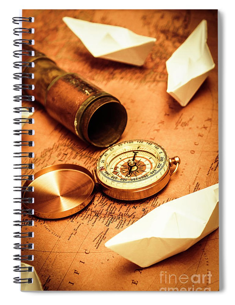 Vintage Spiral Notebook featuring the photograph Maps And Bearings by Jorgo Photography - Wall Art Gallery