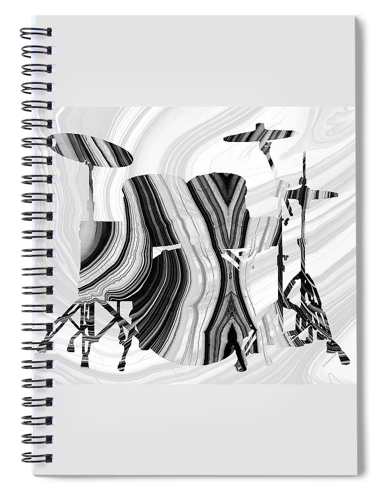 Drum Spiral Notebook featuring the painting Marbled Music Art - Drums - Sharon Cummings by Sharon Cummings