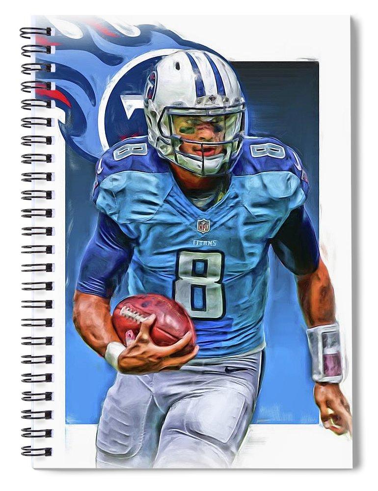 Marcus Mariota Spiral Notebook featuring the mixed media Marcus Mariota Tennessee Titans Oil Art by Joe Hamilton