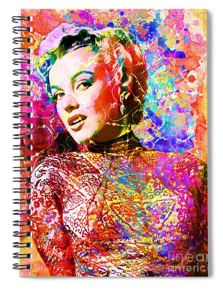 Marilyn Monroe Art Spiral Notebook featuring the mixed media Marilyn Monroe Art by Ryan Rock Artist