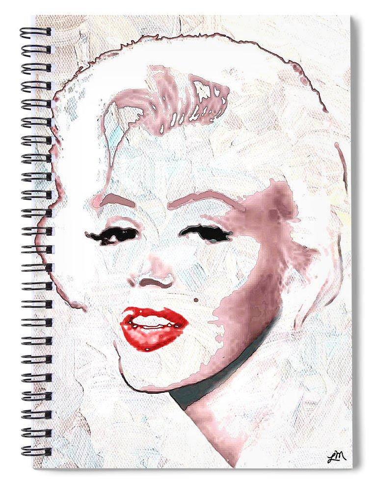 Marilyn Monroe Spiral Notebook featuring the digital art Marilyn Monroe by Linda Mears