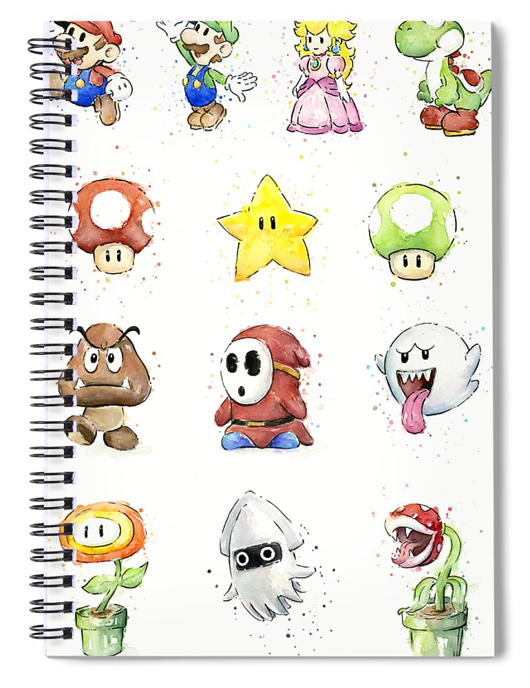 Mario Spiral Notebook featuring the painting Mario Characters in Watercolor by Olga Shvartsur