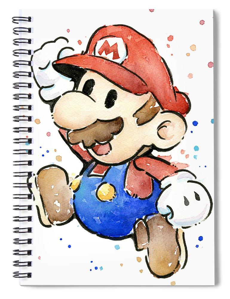 Mario Spiral Notebook featuring the painting Mario Watercolor Fan Art by Olga Shvartsur