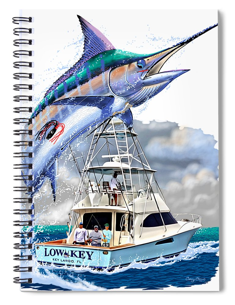 Marlin Spiral Notebook featuring the digital art Marlin Commission by Carey Chen