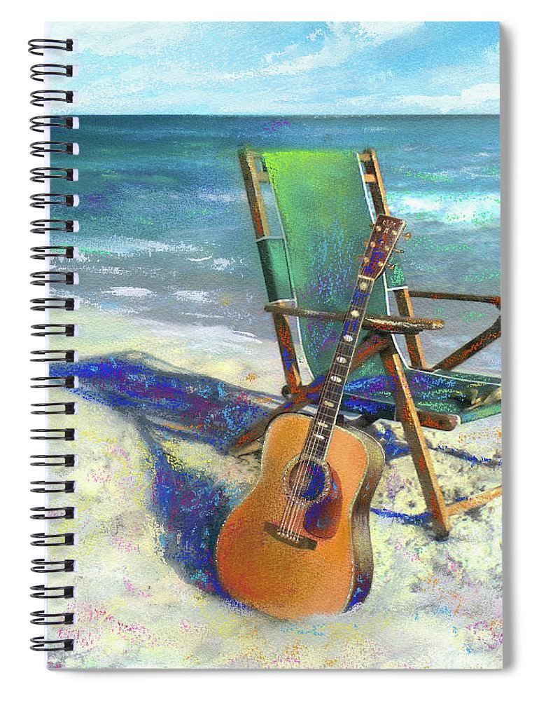 Guitar Spiral Notebook featuring the painting Martin Goes to the Beach by Andrew King