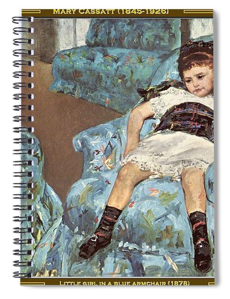 Pajama Spiral Notebook featuring the digital art Mary Cassatt-little Girl In A Blue Armchair1878 Po Amp 059 Mary Cassatt by Eloisa Mannion