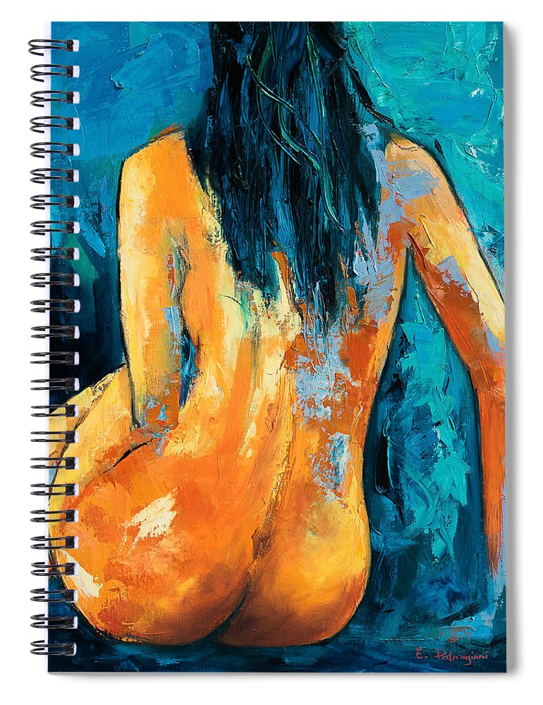 Nude Spiral Notebook featuring the painting Mary Lou by Elise Palmigiani
