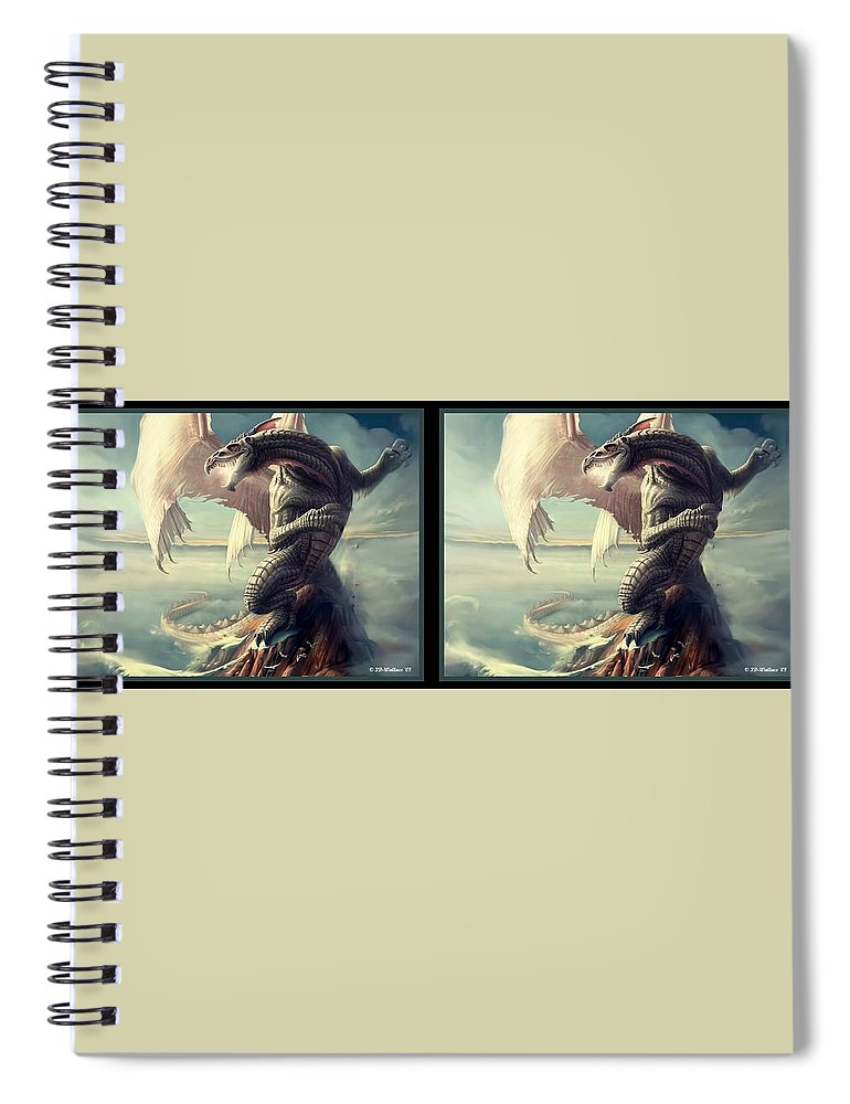 3d Spiral Notebook featuring the digital art Massive Dragon - Gently Cross Your Eyes And Focus On The Middle Image by Brian Wallace