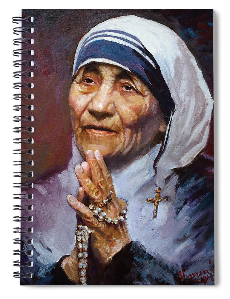 Mother Teresa Artwork Spiral Notebook featuring the painting Mother Teresa by Ylli Haruni
