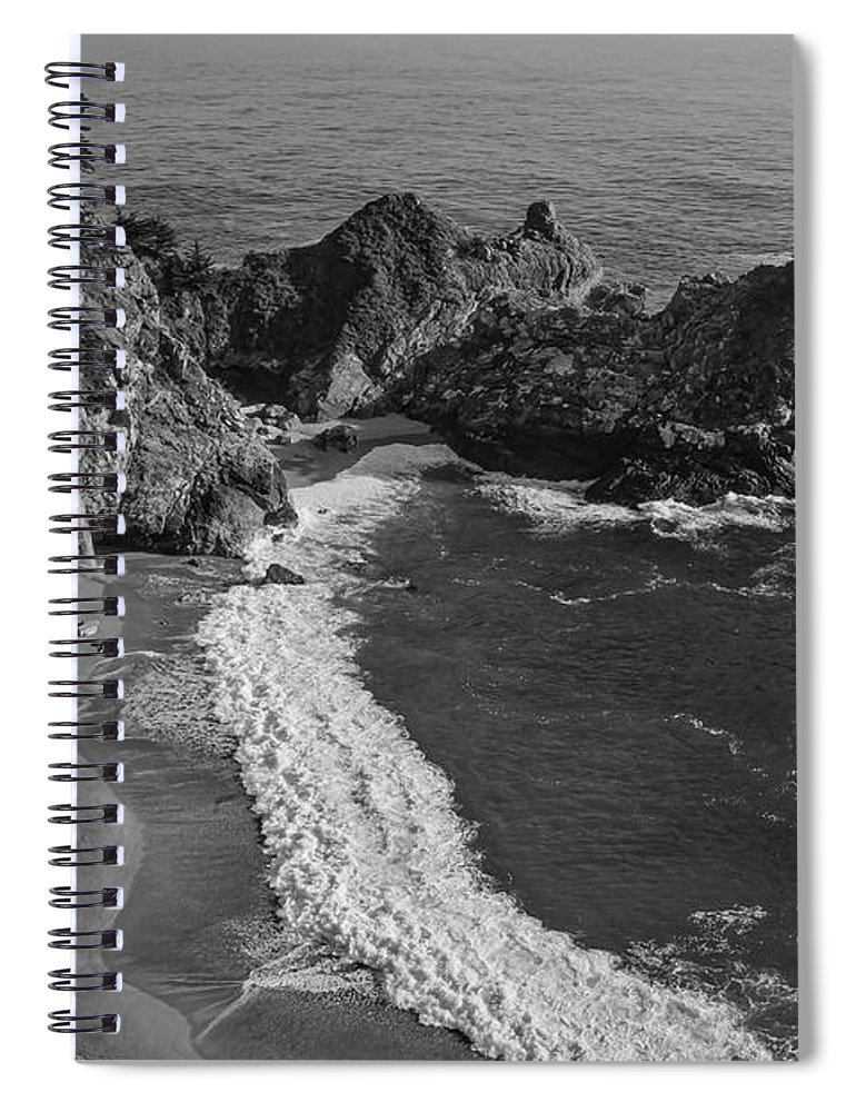 Big Sur California Spiral Notebook featuring the photograph Mcway Cove Waterfall Black And White by Garry Gay