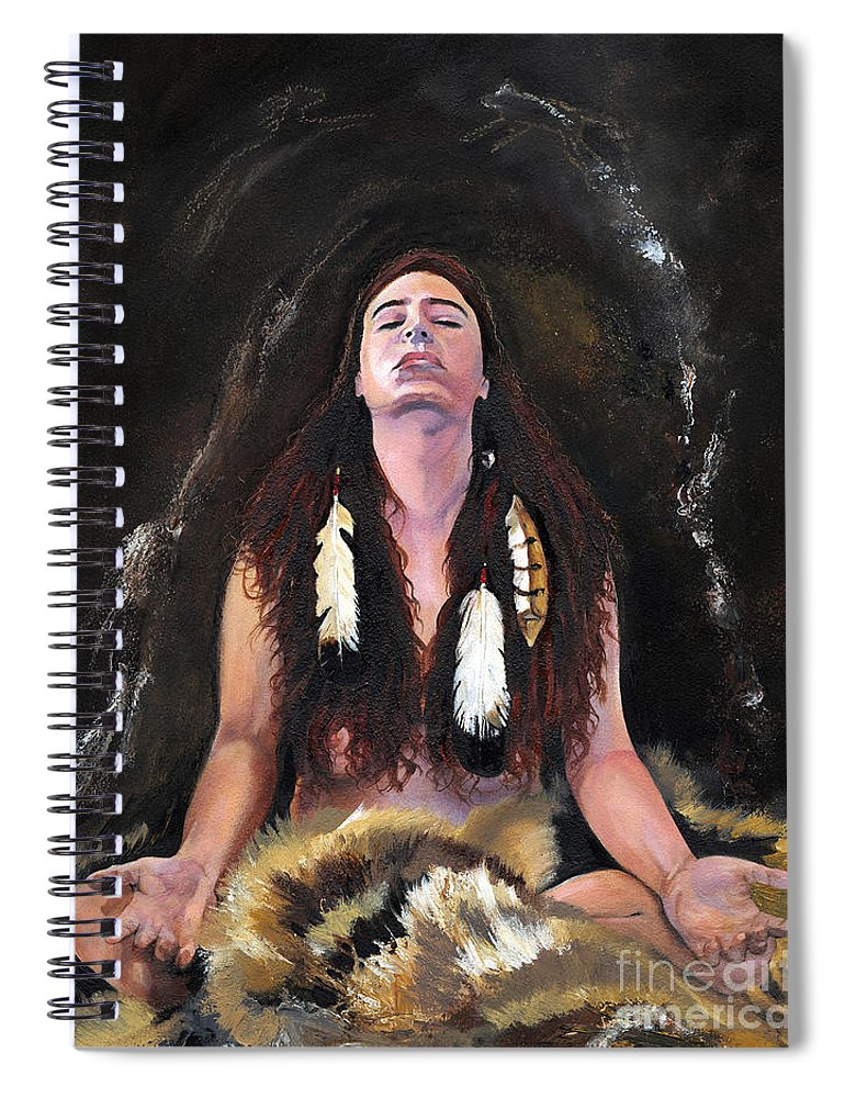 Southwest Art Spiral Notebook featuring the painting Medicine Woman by J W Baker