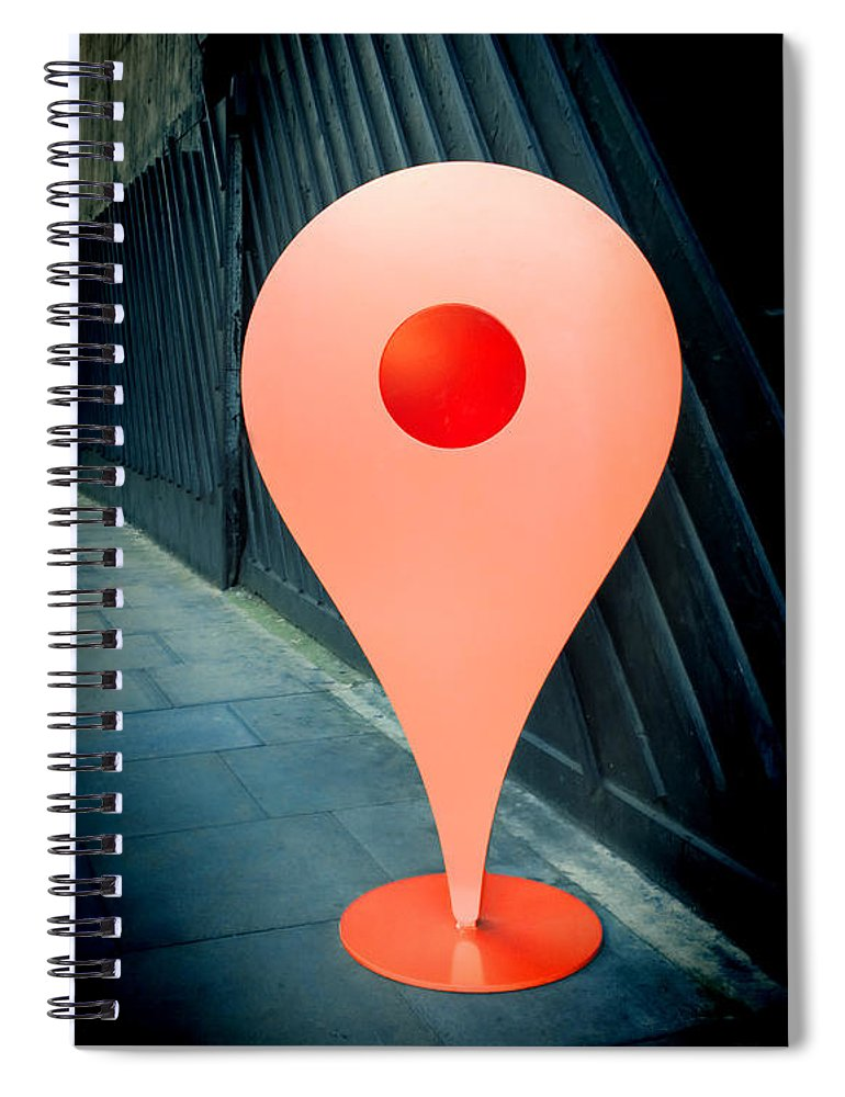 Location Sign Spiral Notebook featuring the photograph Meet Me by Jasna Buncic