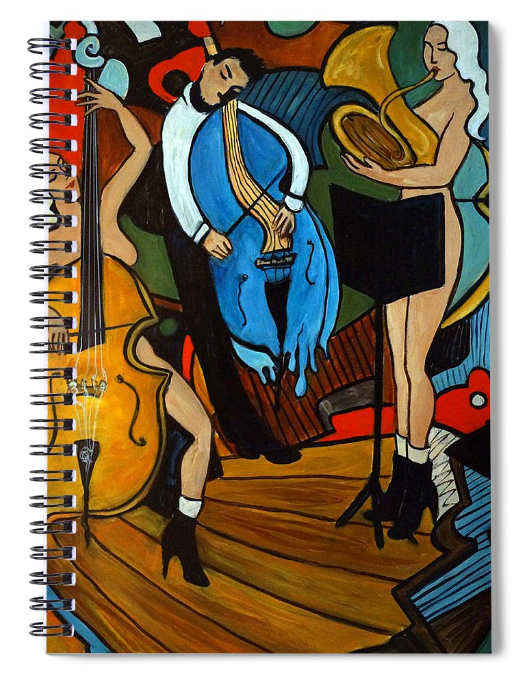 Musician Abstract Spiral Notebook featuring the painting Melting Jazz by Valerie Vescovi