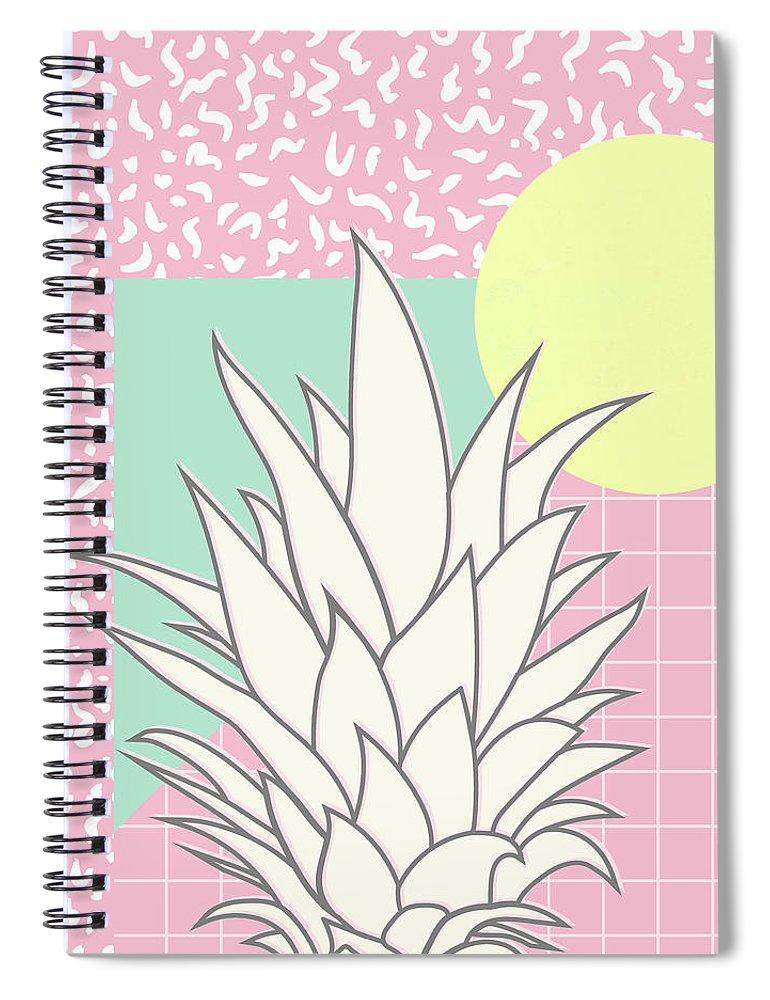 Pastel Spiral Notebook featuring the digital art Memphis Pineapple Top by Ultra Pop