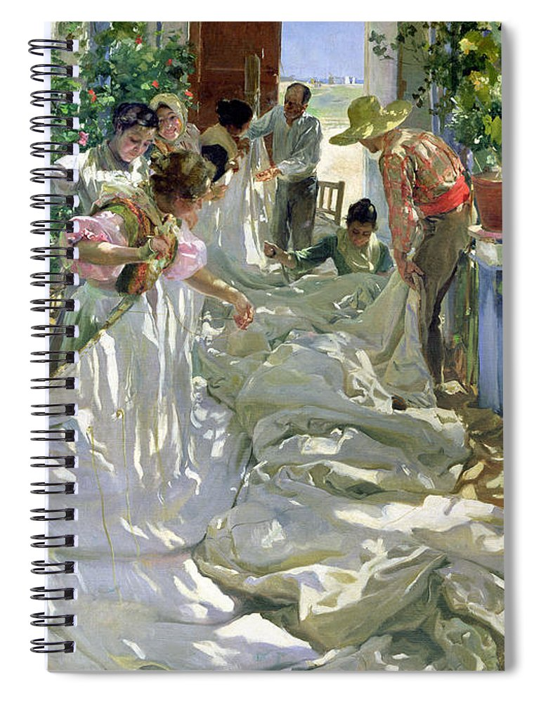 Sewing;straw Hat;geranium;sunshine;worker;workers;greenhouse;conservatory;interior; Pagoda Spiral Notebook featuring the painting Mending The Sail by Joaquin Sorolla y Bastida