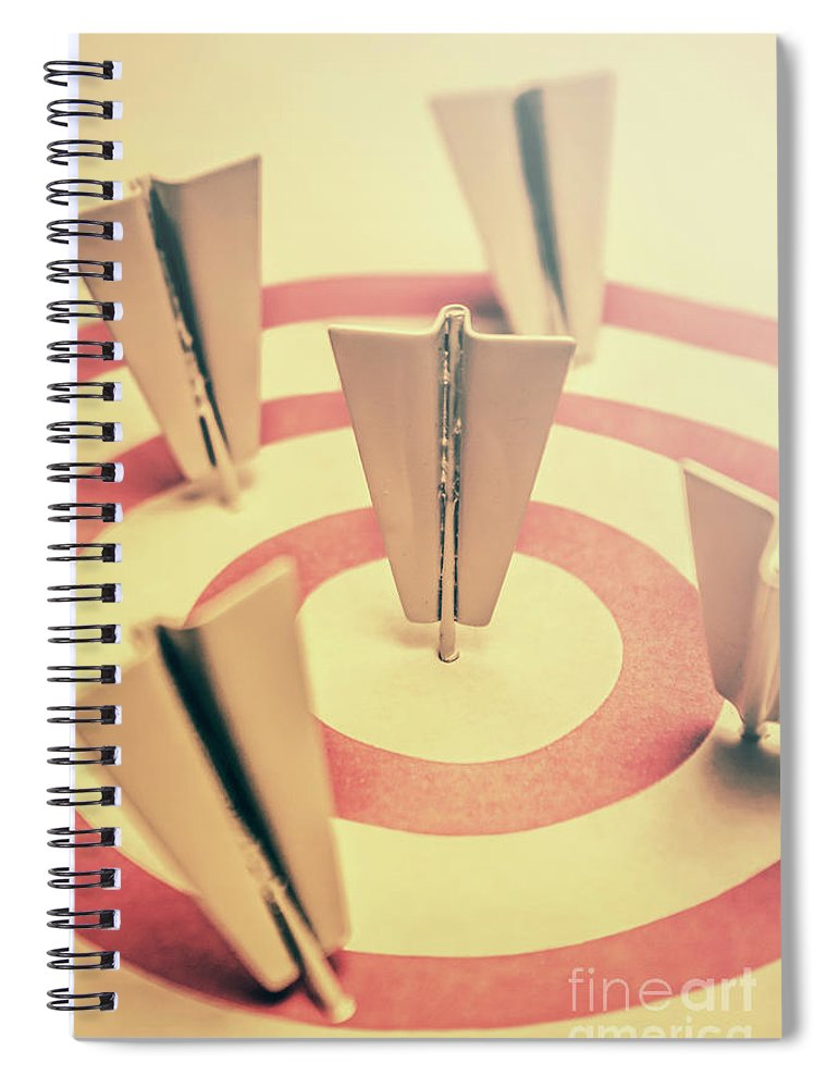 Business Spiral Notebook featuring the photograph Metal Paper Planes In Target, Business Aims by Jorgo Photography - Wall Art Gallery