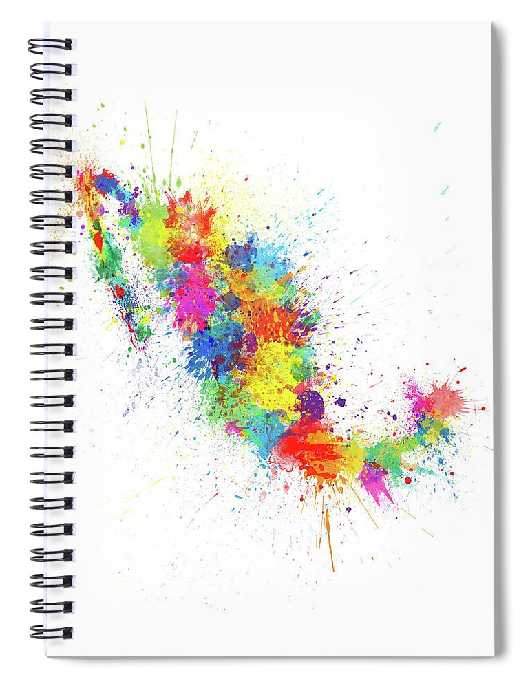 Mexico Map Spiral Notebook featuring the digital art Mexico Paint Splashes Map by Michael Tompsett