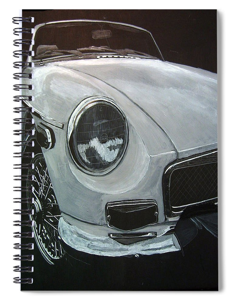 Mgb Spiral Notebook featuring the painting MGB by Richard Le Page