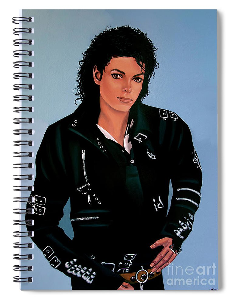 Michael Jackson Spiral Notebook featuring the painting Michael Jackson Bad by Paul Meijering