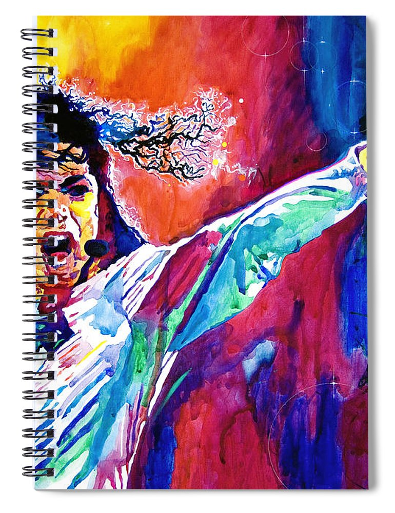 Michael Jackson Spiral Notebook featuring the painting Michael Jackson Force by David Lloyd Glover