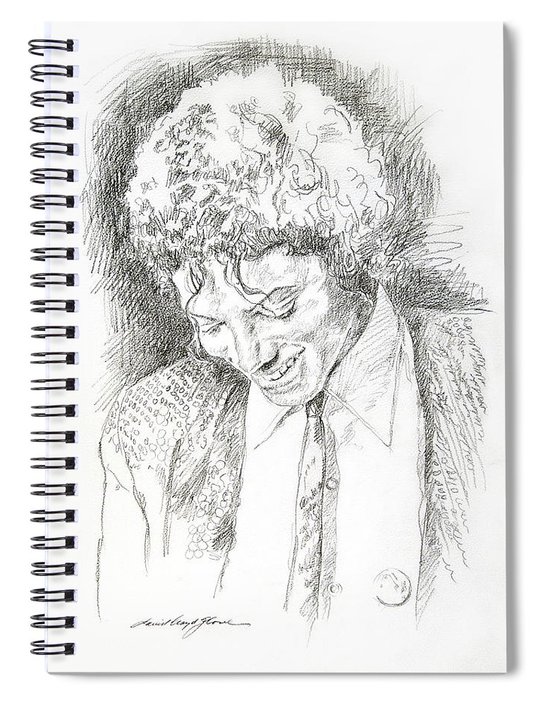 Michael Jackson Spiral Notebook featuring the drawing Michael Jackson - Remember the Time by David Lloyd Glover