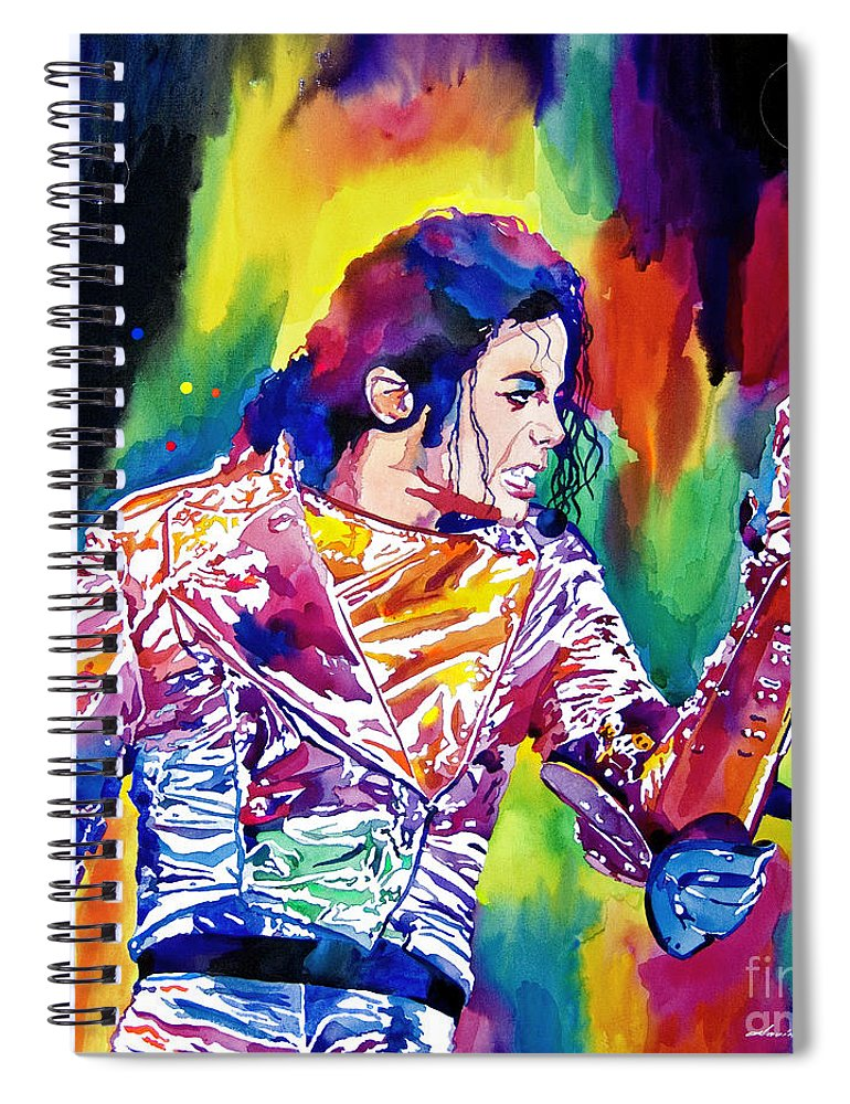 Michael Jackson Spiral Notebook featuring the painting Michael Jackson Showstopper by David Lloyd Glover