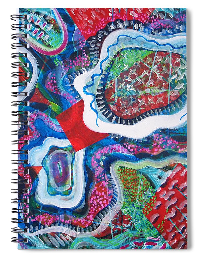 Abstract Spiral Notebook featuring the painting Microcosm IX by Rollin Kocsis