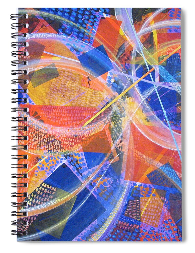Non-representational Spiral Notebook featuring the painting Microcosm XIII by Rollin Kocsis