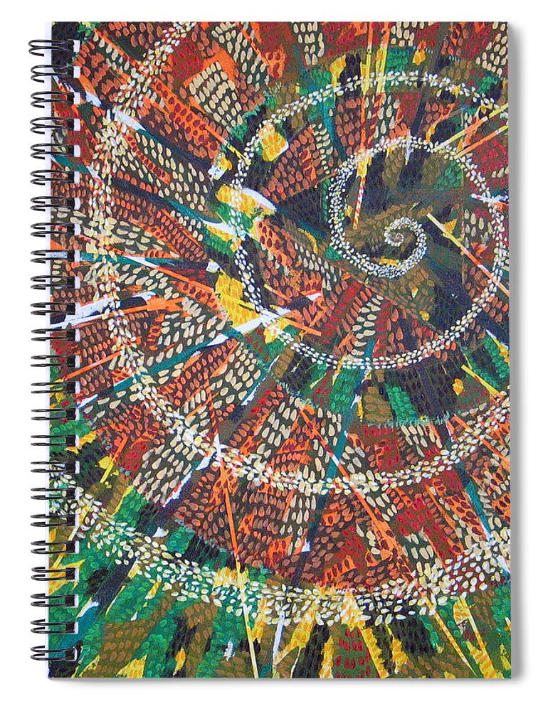 Non-representational Spiral Notebook featuring the painting Microcosm XIV by Rollin Kocsis