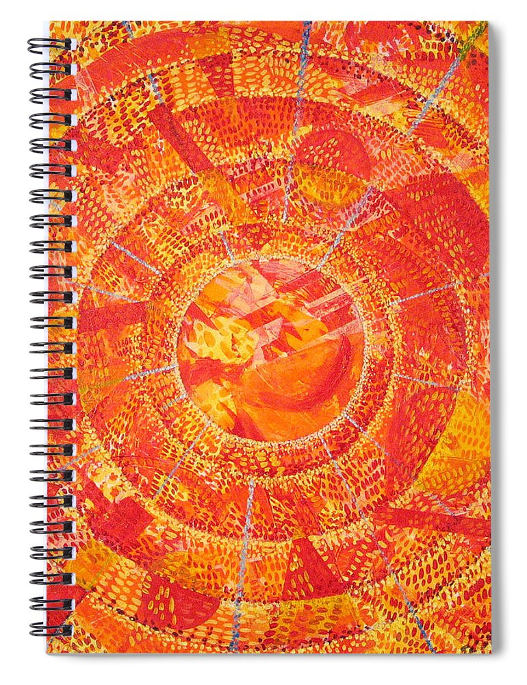 Abstract Spiral Notebook featuring the painting Microcosm XIX by Rollin Kocsis