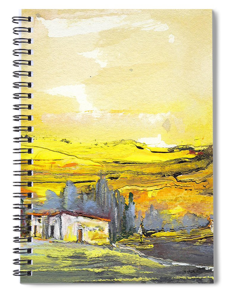 Watercolour Landscape Spiral Notebook featuring the painting Midday 10 by Miki De Goodaboom