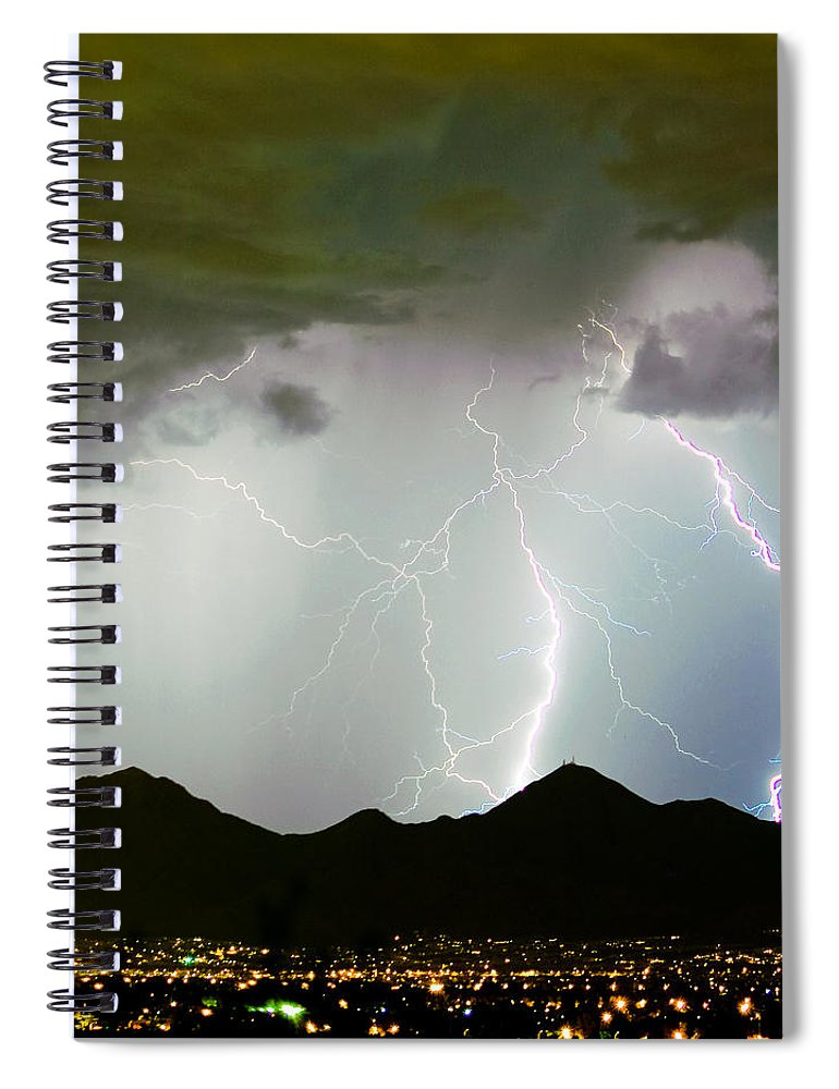 Lightning Spiral Notebook featuring the photograph Midnight Hour by James BO Insogna