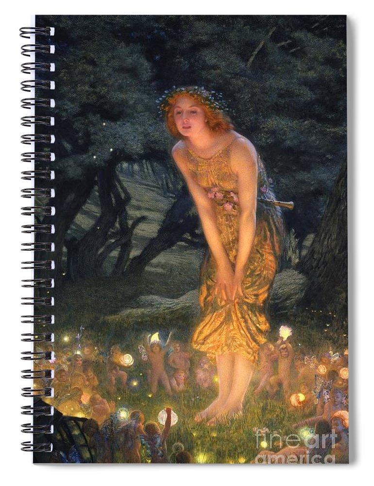 Pre Raphaelite Spiral Notebook featuring the painting Midsummer Eve by Edward Robert Hughes