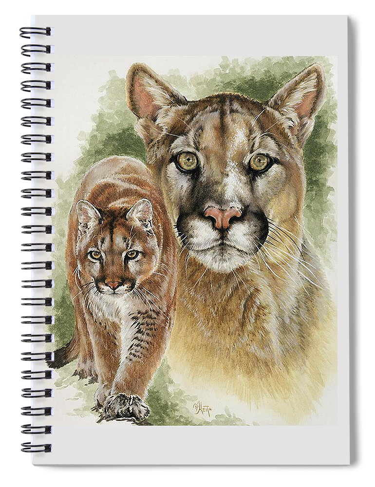 Cougar Spiral Notebook featuring the mixed media Mighty by Barbara Keith