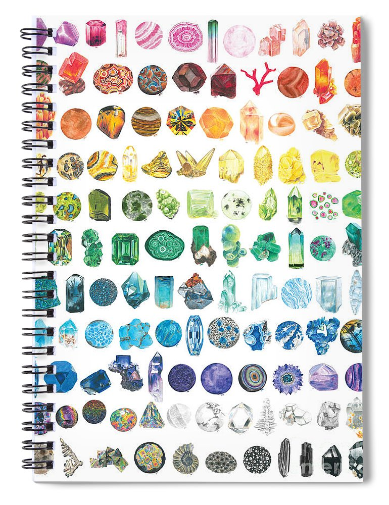 Watercolor Spiral Notebook featuring the painting Mineral Marvels by Abigail Kramer