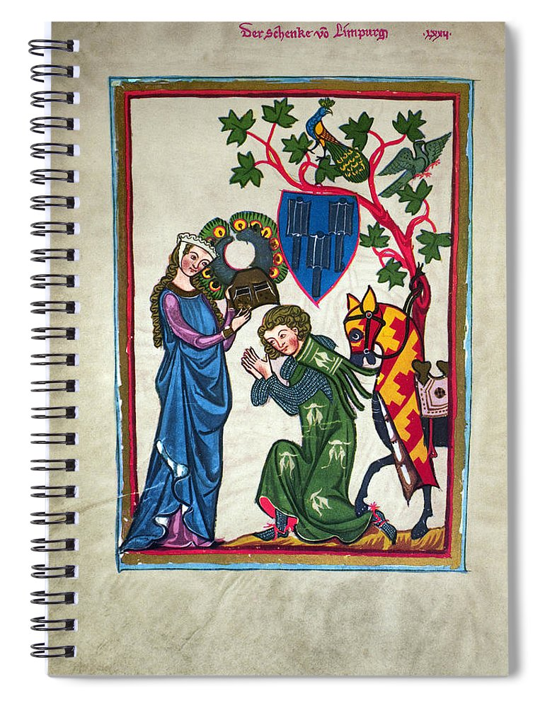 14th Century Spiral Notebook featuring the photograph Minnesinger, 14th Century by Granger